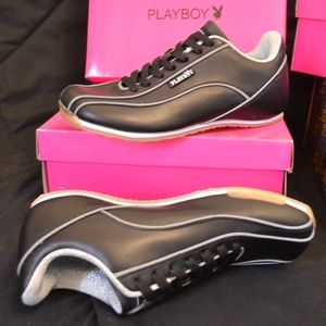 New! PLAYBOY Gina Black/Silver Bunny Sneakers 7.5